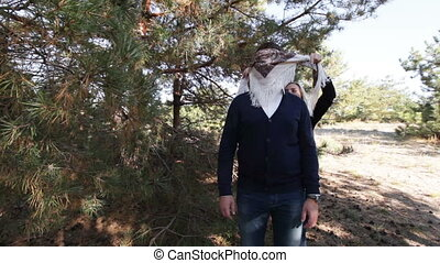 Playing hide and seeks - In coniferous forest blindfolded...