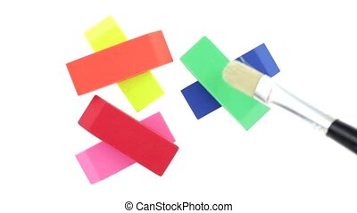Brushing off erasers - Video of preparing photographing of...
