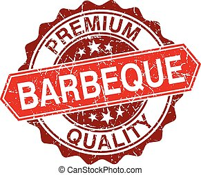 Barbeque red vintage stamp isolated on white background