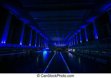 Berlin Tempelhof Airport departure hall at night