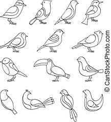 Birds set - A set of sketches of birds Vector illustration