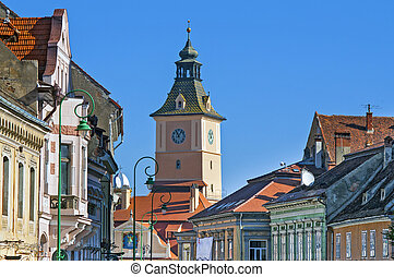 Brasov, Romania old town view (the tower from Piata...