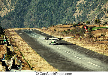 Airport in Lukla - aircraft in Lukla airport