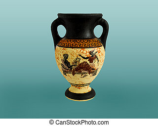 Greek Amphora - Ancient colored amphora with an ornament....