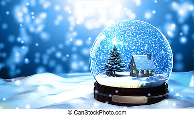 Christmas Snow globe Snowflake with Snowfall on Blue...