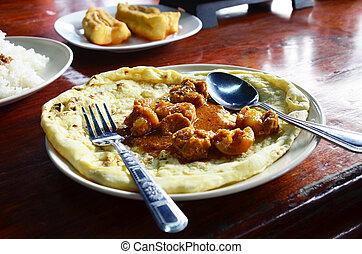 Roti Mataba with Chicken massaman Curry