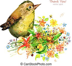 watercolor painting cute bird with flowers. vector illustration.