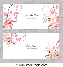 invitation cards with a pink lily for your design
