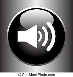 Speaker volume icon on black glass button Vector...