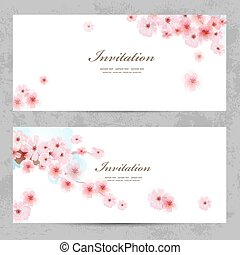 invitation cards with a blossom sakura for your design