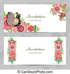invitation cards with Khokhloma painting for your design