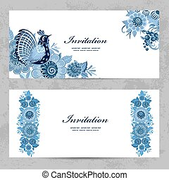 invitation cards with Gzhel ornament for your design