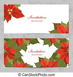 invitation cards with poinsettia for your design