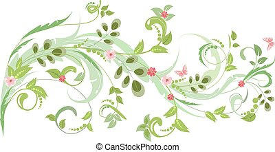 floral ornament with butterflies for your design