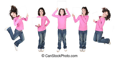 Five Poses of a Child Holding a Blank Sign - Many Poses of a...