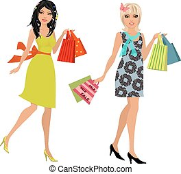 fashion young women with purchase for your design