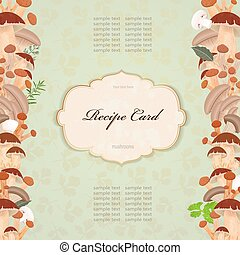 recipe card with mushrooms for your design