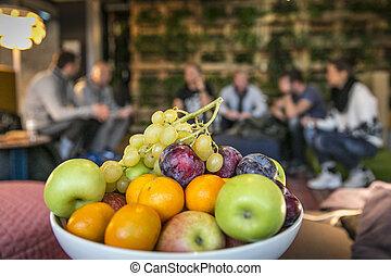 abastecimiento, Buffet, /, fruta, tazón,