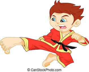 karate boy - illustration of cute karate boy