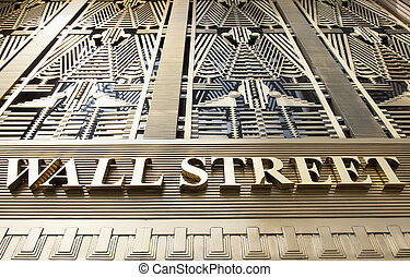 Wall Street - The name of famous street as an exterior of a...