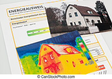 save energy. house with thermal imaging camera - save energy...