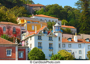 colorful homes on a hill in Sintra, Portugal