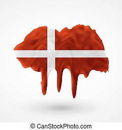 Flag of Denmark painted colors