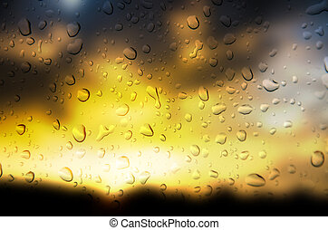 Drop water - abstract golden color background with drop...