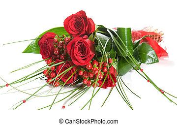 Colorful Flower Bouquet from Red Roses on White Background...