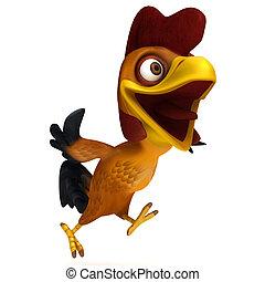 Chicken run - 3d render illustration cartoon of rooster...