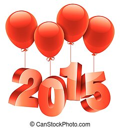 New Year concept - 2015 New Year number flying on red...
