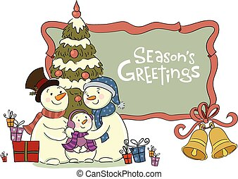 Family of the snowman near to a Christmas fur-tree - Vector...