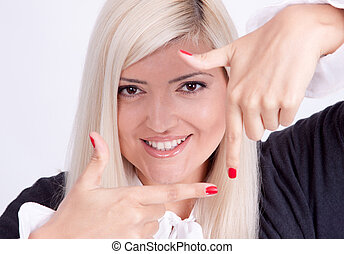 Girl making frame gesture with hands, isolated on white