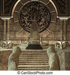 Throne - 3D digital render of a fairytale throne isolated on...