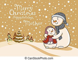 Mum the snowman cares of her child.