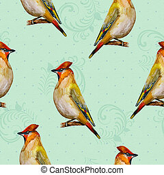 retro seamless texture with cute birds watercolor