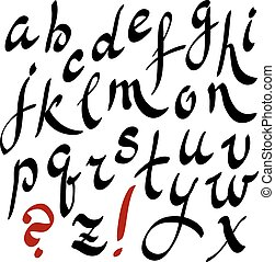 Black and red hand writing lettering alphabet - Black and...
