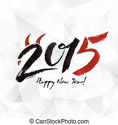 Calligraphy black and red New Year sign on white -...