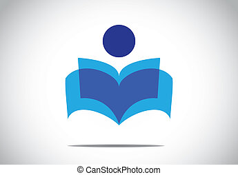 a human person reading an open book concept illustration...