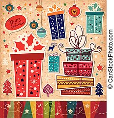 Christmas gifts - Christmas card with gift boxe