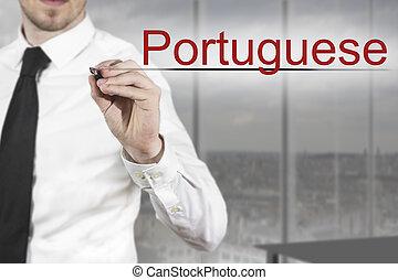 homem negócios, escrita, em, a, ar, Português,