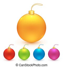 Bright colors isolated Christmas balls set - Bright colors...