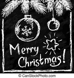 Merry Christmas lettering and balls in naive chalkboard...