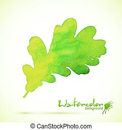 Green watercolor painted vector oak leaf with shadow