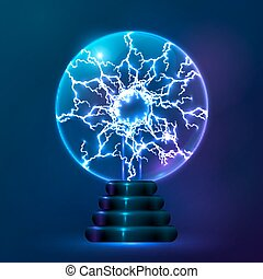 Blue vector plasma ball lamp