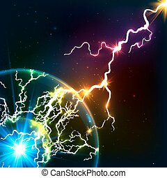 Rainbow colors shining cosmic plasma lightning - Rainbow...
