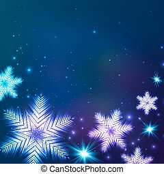 Blue cosmic snowflakes Christmas abstract background