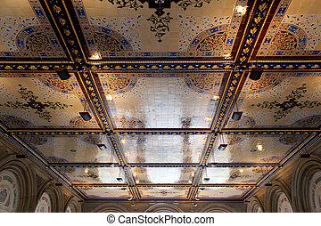 New York City central park Bethesda Terrace underpass arcade...