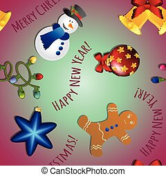 New year pattern with snowman, gingerbread man, bell,...