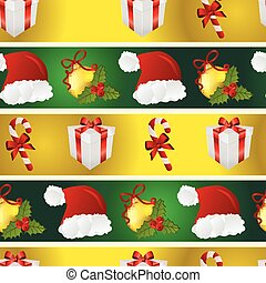 New year pattern with Santa hat, gift, Christmas tree toys, and striped candy